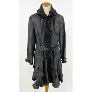Samuel Dong Trench Coat Medium M Black Ruffle